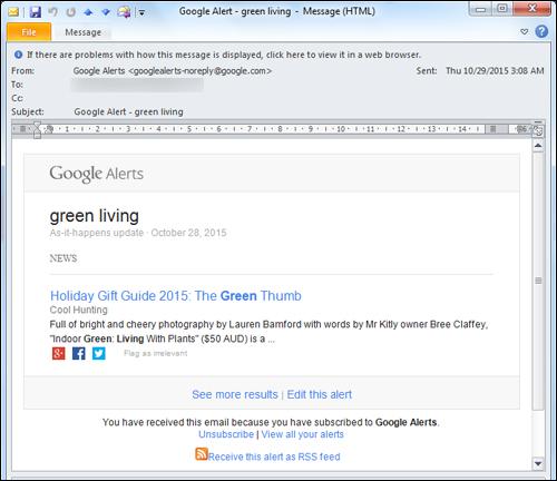 Google alerts - email alert