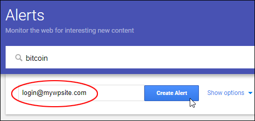 Create Alert and send to email