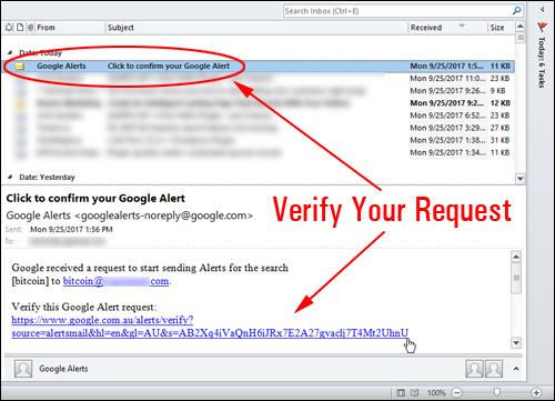Verify your Google Alert request