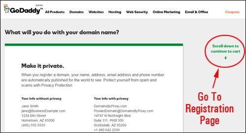 GoDaddy - domain name registration process