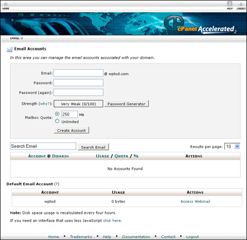 cPanel Email Accounts screen