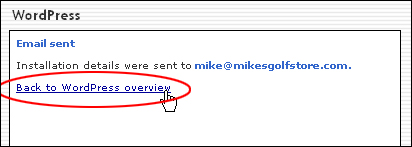 Email with WordPress login details sent
