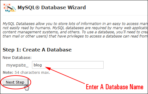 Step 1: Enter A Database Name