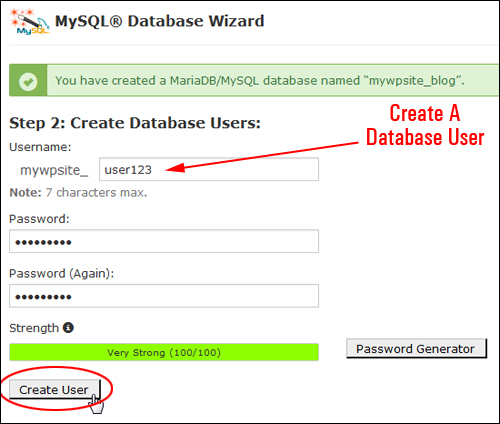 Step 2: Enter A Database User