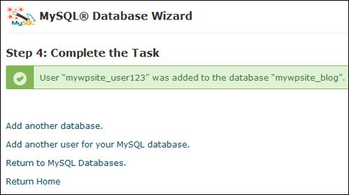 MySQL Database created