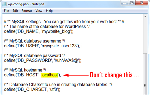 Use 'localhost' unless advised otherwise by your web host
