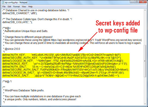Secret keys added to your wp-config.php file