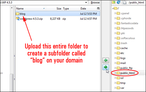 Installing WordPress into a subfolder? - Upload the folder and WordPress files to your server