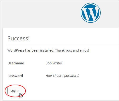 WordPress installed successfully!
