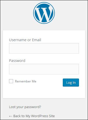 WordPress Log In Screen