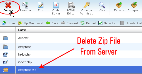 Delete zip file from your server to save space