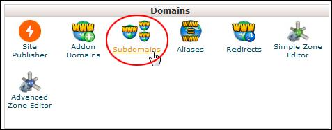 cPanel: Domains - Subdomains