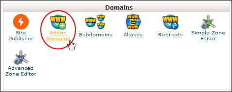 cPanel: Domains - Addon Domains