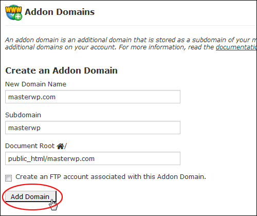 Creating an addon domain in cPanel