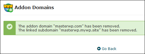 Confirmation of addon domain deletion