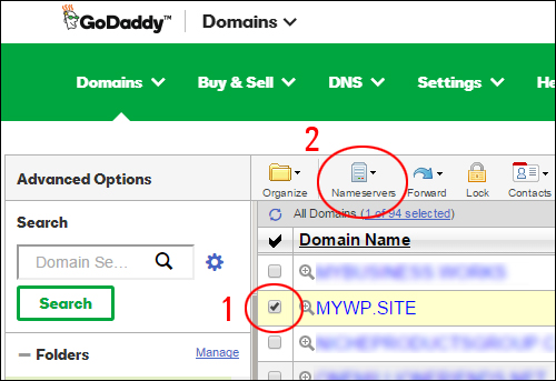 Select the domain to configure