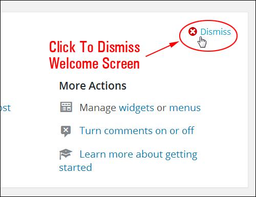 Dismiss The WordPress Welcome Screen