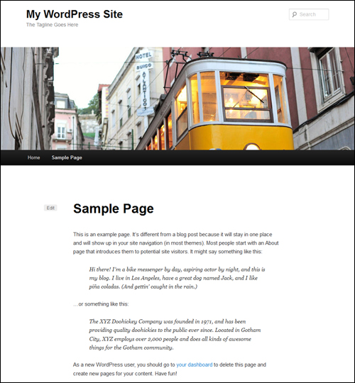 The Sample Page stays on your site even if you change WordPress themes unless deleted.