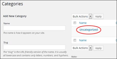 WordPress 'Uncategorized' Category