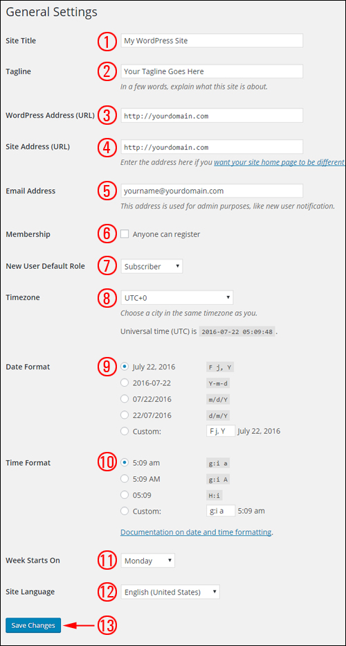 WordPress General Settings Screen