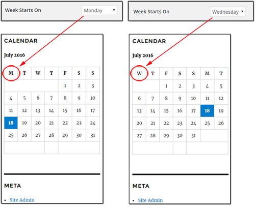 WordPress General Settings - 'Week Starts On' settings
