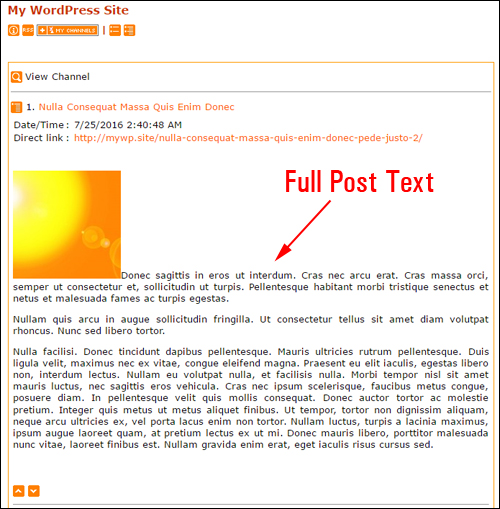 Feedreader shows full post text from your RSS feed