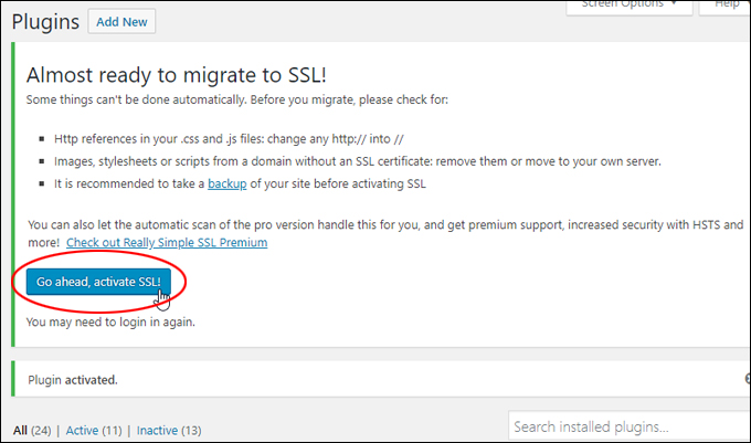 Activate SSL