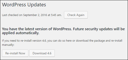 WordPress Updates Notice