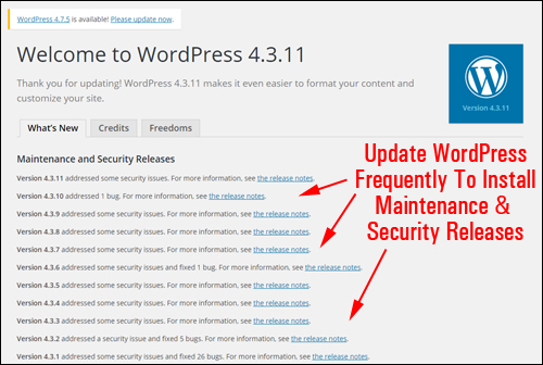 Don't neglect updating WordPress!