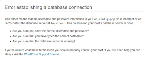 Error establishing a database connection message