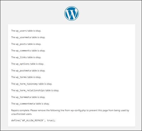 WordPress Database Repair process