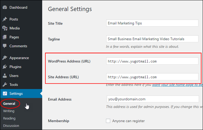 WordPress Address (URL) and Site Address (URL) fields are no longer greyed out