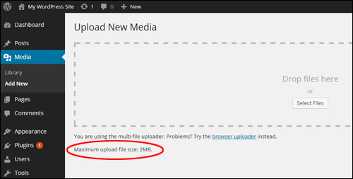 Upload New Media - Maximum Upload File Size