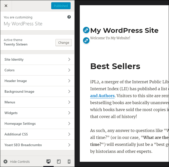 WordPress Theme Customizer: Theme options menu and live preview screen