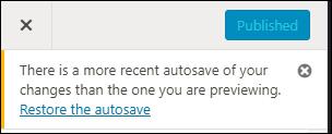 WordPress Autosave notice