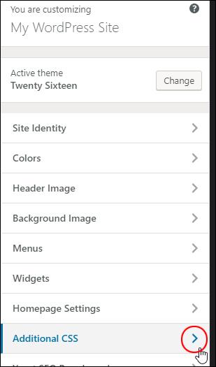 WordPress Theme Customizer - Additional CSS