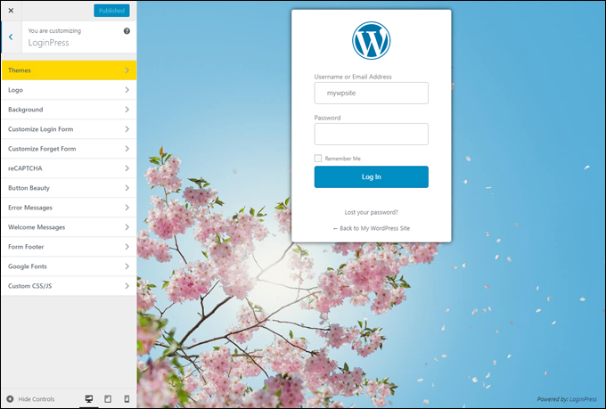 Customize every aspect of your login form with LoginPress