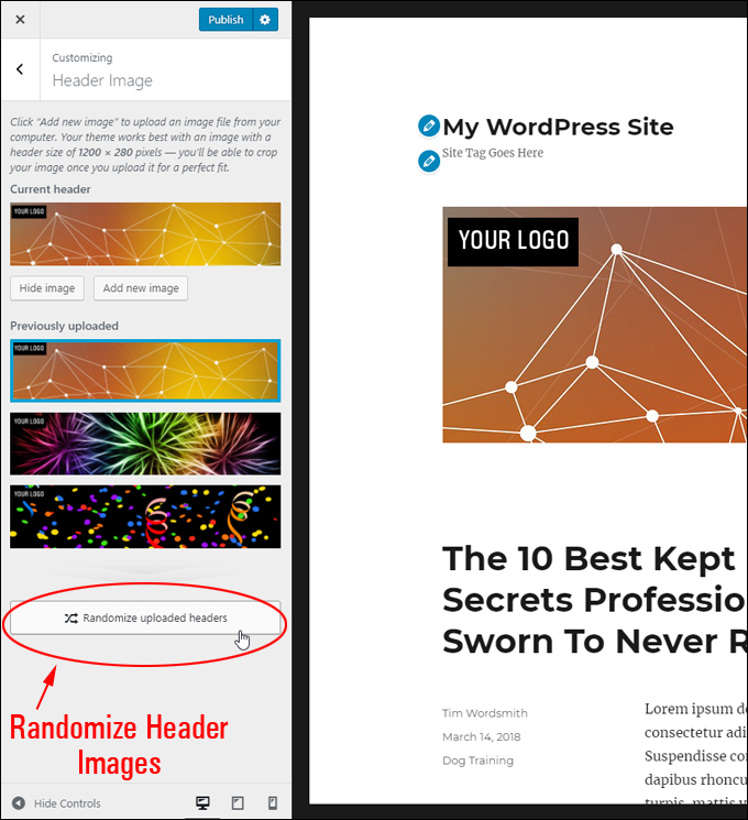 Randomize uploaded header images