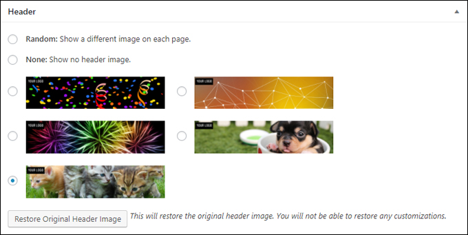 Select a specific image for your post or page