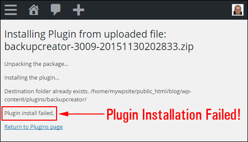 Plugin Installation Failed
