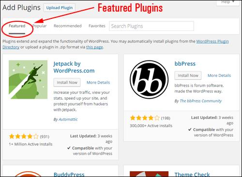 Add Plugins - Featured Plugins