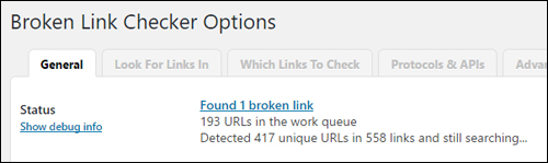 Broken Link Checker continually monitors your site for broken links