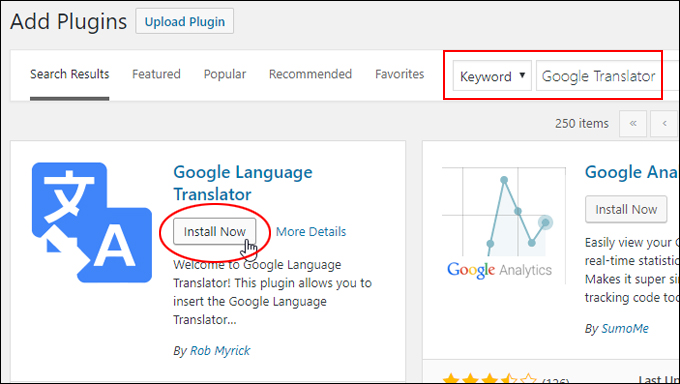 Install Google Language Translator plugin