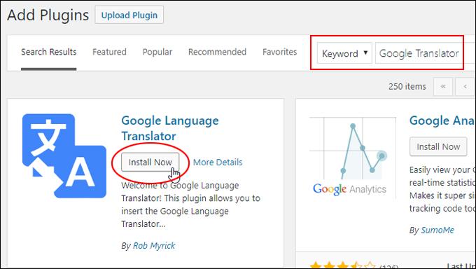 Install Google Language Translator plugin