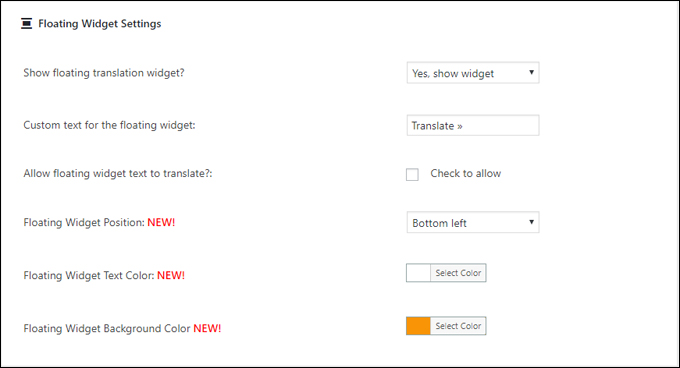 Google Language Translator - Floating Widget settings