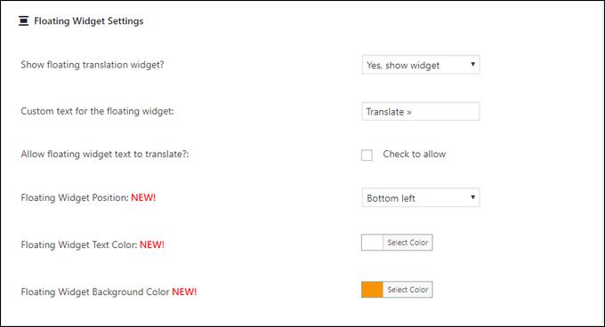 Google Language Translator - Floating Widget settings