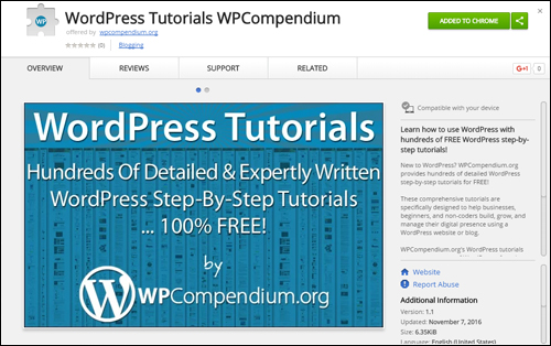 WordPress Tutorials extension added to Chrome