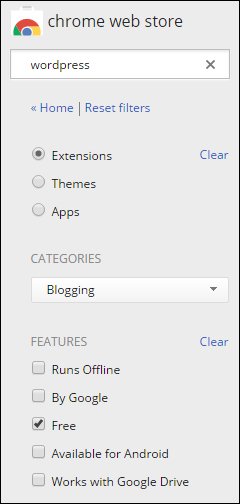 Chrome Web Store - Filters Menu