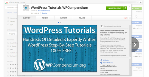 WPCompendium WordPress Tutorials Chrome Extension