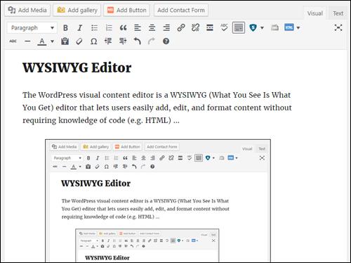 WordPress WYSIWYG Editor